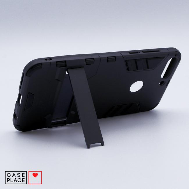 Противоударный двухкомпонентный чехол-бампер с подставкой для Huawei Y6 Prime 2018/Honor 7A Pro/7C черный