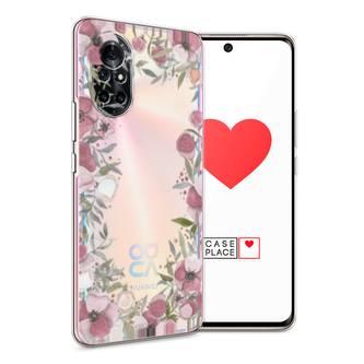 Силиконовый чехол Розовая цветочная рамка на Huawei Nova 8