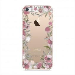 Силиконовый чехол Розовая цветочная рамка на iPhone 5/5S/SE
