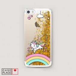 Жидкий чехол с блестками Единорог на радуге на iPhone 5/5S/SE