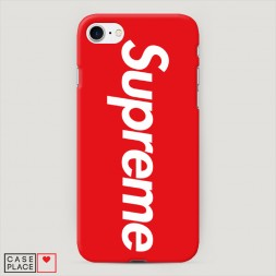 Пластиковый чехол Supreme на красном фоне на iPhone 8