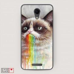 Cиликоновый чехол Сердитый кот с радугой на BQ 5044 Strike