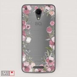 Силиконовый чехол Розовая цветочная рамка на BQ 5044 Strike