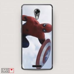 Cиликоновый чехол Человек-паук с щитом на BQ 5201 Space