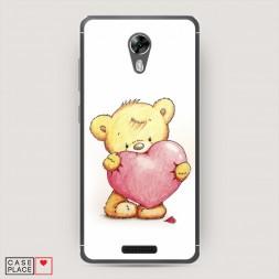 Cиликоновый чехол Мишка с сердцем 3 на BQ 5201 Space