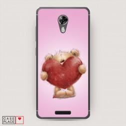 Cиликоновый чехол Мишка с сердцем 5 на BQ 5201 Space