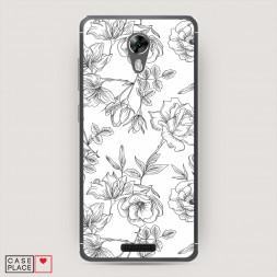 Cиликоновый чехол Графичные розы ЧБ на BQ 5201 Space