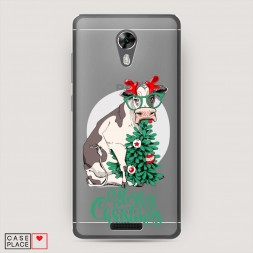 Силиконовый чехол Funny Christmas cow на BQ 5201 Space