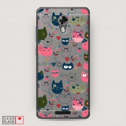 Cиликоновый чехол Счастье в котах на BQ 5201 Space