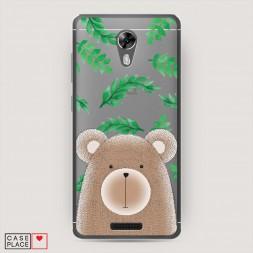 Cиликоновый чехол Медведь в листочках на BQ 5201 Space
