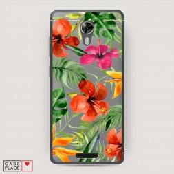 Cиликоновый чехол Яркие тропические цветы на BQ 5201 Space