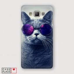 Пластиковый чехол Космический кот на Samsung Galaxy A7