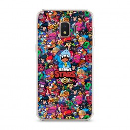Силиконовый чехол Brawl Stars все герои на Samsung Galaxy J2 Core (2018/2020)