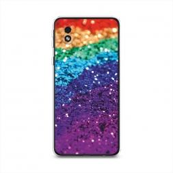 Силиконовый чехол Блестящая радуга рисунок на Samsung Galaxy A01 Core