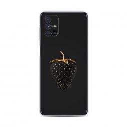 Силиконовый чехол Черно-золотая клубника на Samsung Galaxy M31s