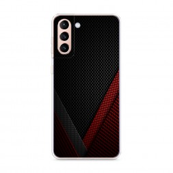 Силиконовый чехол Красный карбон на Samsung Galaxy S21 Plus