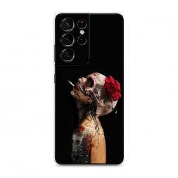 Силиконовый чехол Девушка с черепом на Samsung Galaxy S21 Ultra
