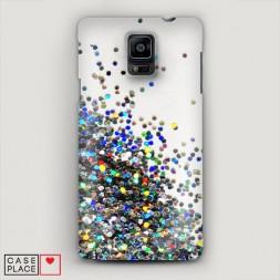 Пластиковый чехол Россыпь пайеток рисунок на Samsung Galaxy Note 4
