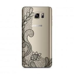 Силиконовый чехол Черный волновой узор на Samsung Galaxy Note 5