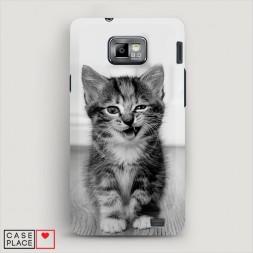 Пластиковый чехол Подмигивающий котенок на Samsung Galaxy S2