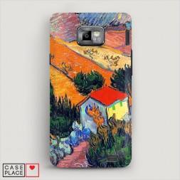Пластиковый чехол Пейзаж с домом и пахарем на Samsung Galaxy S2