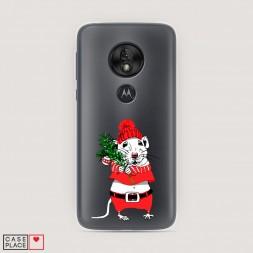 Силиконовый чехол Новогодняя крыска на Motorola Moto G7 Play