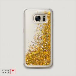Жидкий чехол с блестками без принта на Samsung Galaxy S6