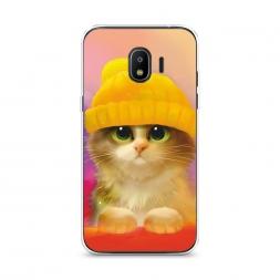 Силиконовый чехол Котенок в желтой шапке на Samsung Galaxy J2 2018