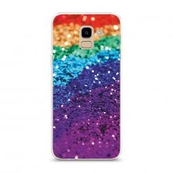 Силиконовый чехол Блестящая радуга рисунок на Samsung Galaxy J6 2018