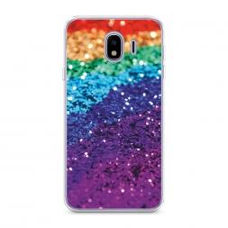 Силиконовый чехол Блестящая радуга рисунок на Samsung Galaxy J4