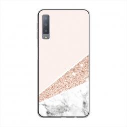 Силиконовый чехол Блестящий розовый мрамор на Samsung Galaxy A7 2018