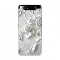 Силиконовый чехол Гипсовые цветы на Samsung Galaxy A80