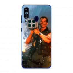 Силиконовый чехол Арнольд Шварцнеггер с базукой на Samsung Galaxy M40