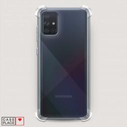Противоударный силиконовый чехол Прозрачный на Samsung Galaxy A71