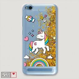 Жидкий чехол с блестками Принцесса единорог на Xiaomi Redmi 5A