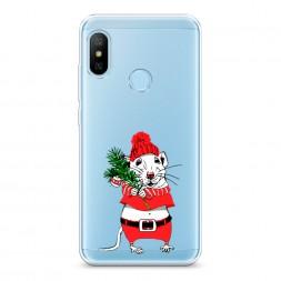Силиконовый чехол Новогодняя крыска на Xiaomi Redmi 6 Plus
