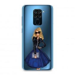 Силиконовый чехол Девушка в синей юбке на Xiaomi Redmi Note 9