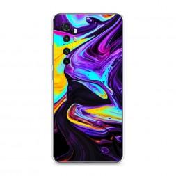Силиконовый чехол Фиолетовый флюид арт на Xiaomi Mi Note 10 lite
