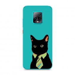 Силиконовый чехол Черный кот в галстуке на Xiaomi Redmi 10X 5G