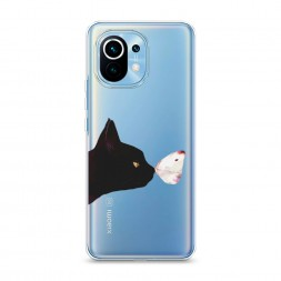 Силиконовый чехол Черный кот и бабочка на Xiaomi Mi 11