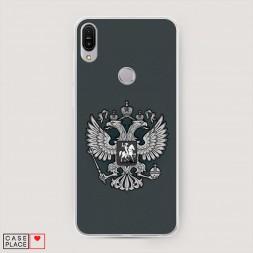 Cиликоновый чехол Герб России серый на Asus ZenFone Max Pro ZB602KL