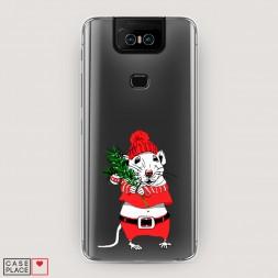 Силиконовый чехол Новогодняя крыска на Asus Zenfone 6 ZS630KL