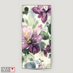 Силиконовый чехол Сиреневые цветы-акварель на Sony Xperia L1