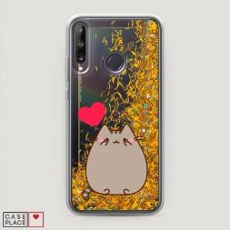 Жидкий чехол с блестками Пушин влюблен на Huawei Y7p