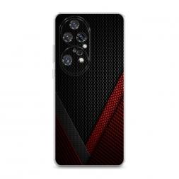 Силиконовый чехол Красный карбон на Huawei P50 Pro