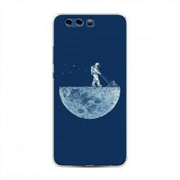 Силиконовый чехол Космонавт на луне на Huawei P10 Plus