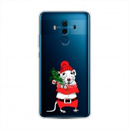 Силиконовый чехол Новогодняя крыска на Huawei Mate 10 Pro
