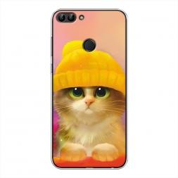 Силиконовый чехол Котенок в желтой шапке на Huawei P Smart