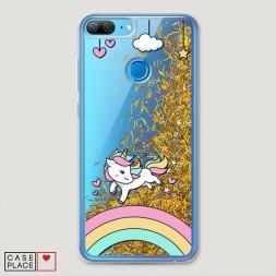 Жидкий чехол с блестками Единорог на радуге на Huawei Honor 9 Lite