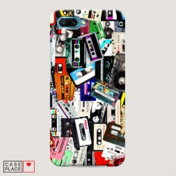 Пластиковый чехол Коллекция кассет на Huawei Honor 10